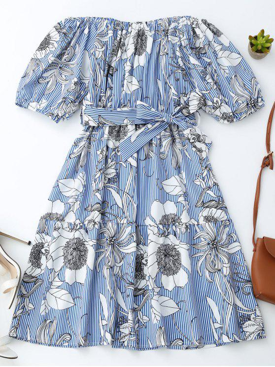 womens Off Shoulder Striped Floral Dress With Belt - BLUE STRIPE L