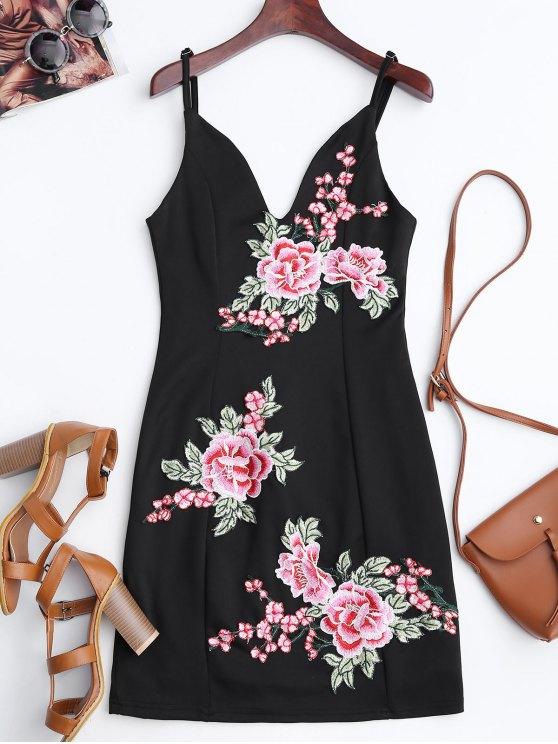 Mini Vestido Ceñido con Bordado Floral - Negro S