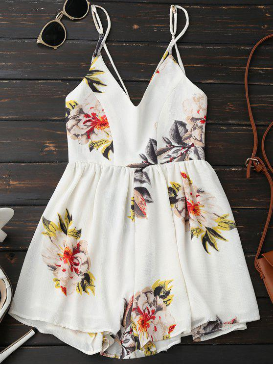 best Spaghetti Strap Backless Floral Wide Leg Romper - WHITE L