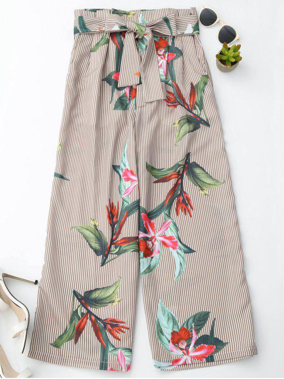 women Floral Striped Wide Leg Pants With Belt - STRIPE M