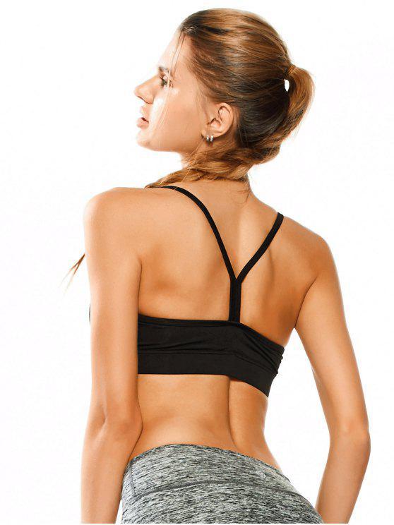 affordable Padded Y Back Activewear Bra - BLACK M