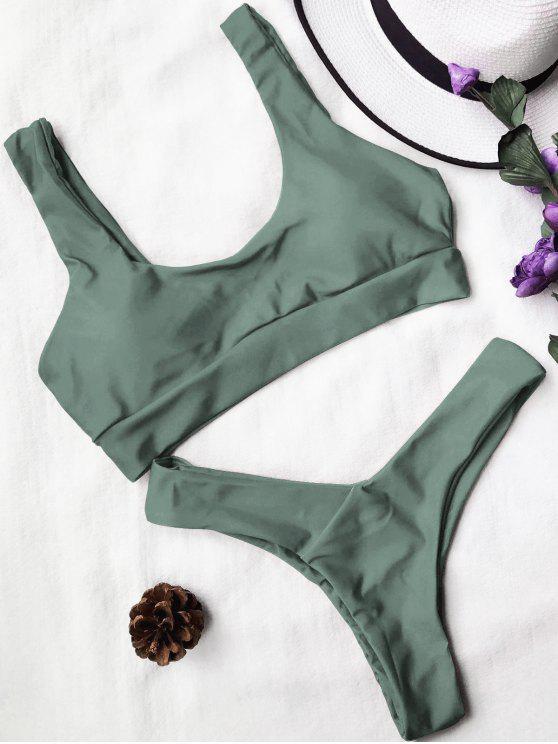 Traje de Bikini con Thong con Aros con Cuello en U - Verde del ejército L