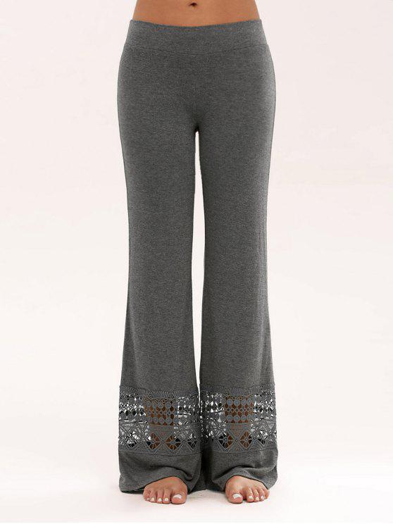 Hosen mit Spitzeeinsatz und hoher Taille,weitem Bein - Grau 2XL