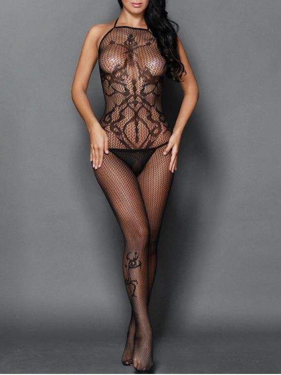 dc1a0a864 21% OFF  2019 Crochet Halter Backless Fishnet Bodystocking In BLACK ...