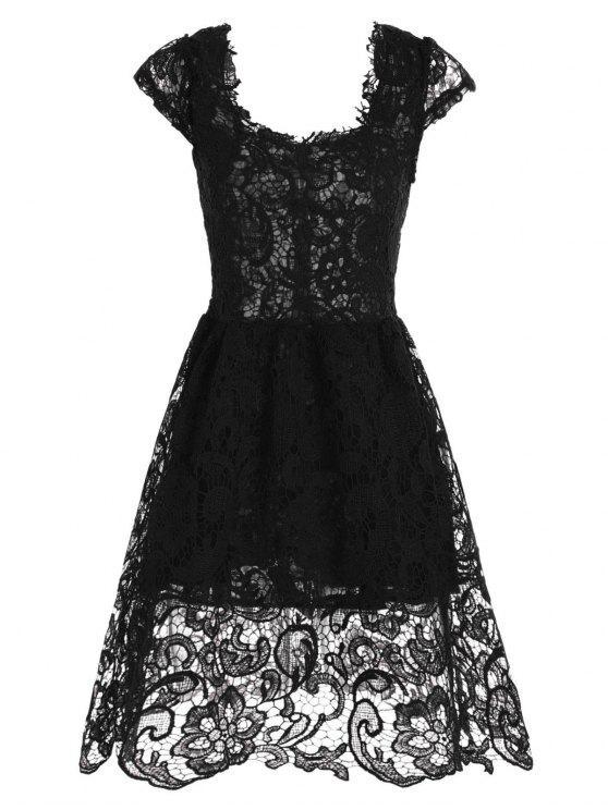 فستان رسمي دانتيل قصير مصغر متزلج - أسود XL