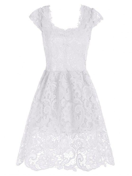 فستان رسمي دانتيل قصير مصغر متزلج - أبيض L