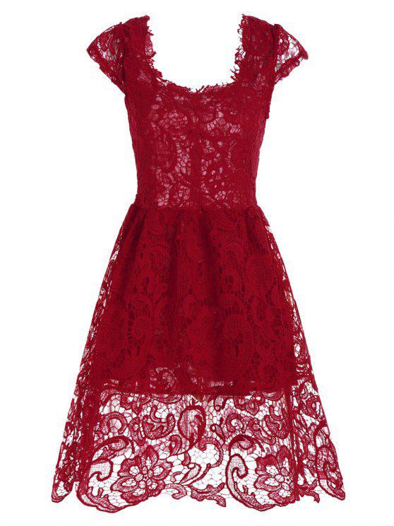 فستان رسمي دانتيل قصير مصغر متزلج - أحمر S