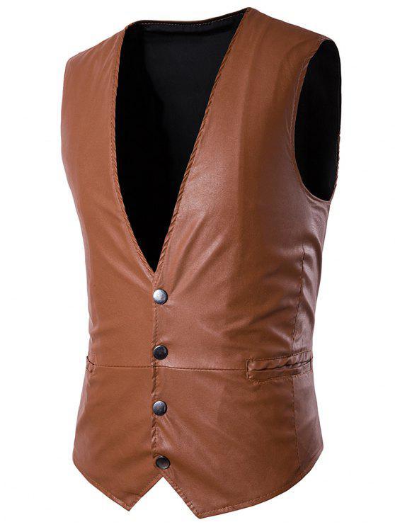 الخامس الرقبة بو الجلود واحدة الصدر تصميم حزام صدرية - البني الفاتح M