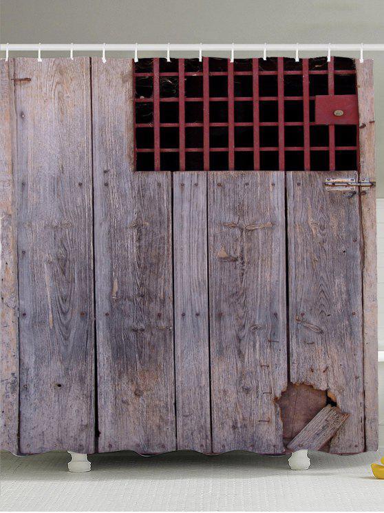 خمر باب خشبي شعرت نافذة ستارة الحمام - رمادي W71inch*L71inch
