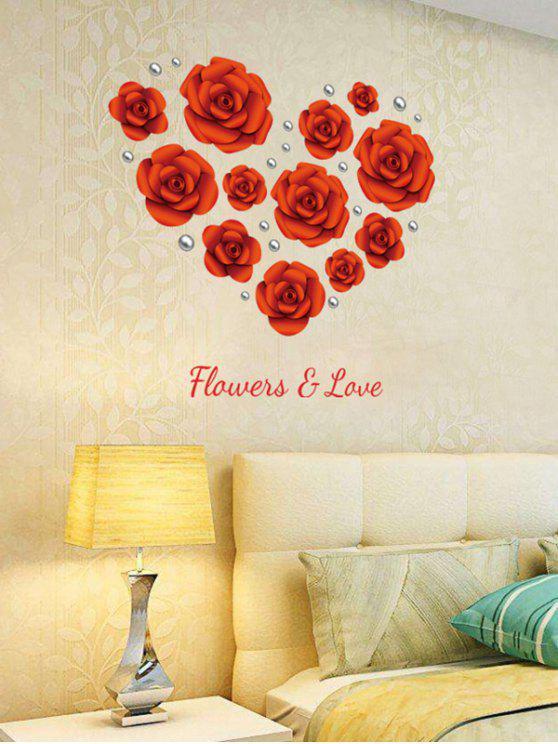 دي روز الزهور للإزالة الفينيل الجدار ملصق - أحمر 60 * 90CM