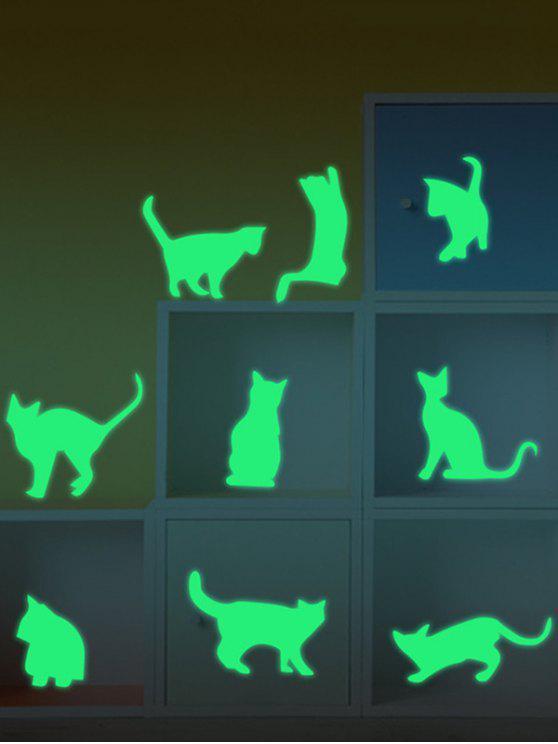 القط الوهج في الظلام مضيئة ملصقات الحائط - نيون الخضراء 55*13CM