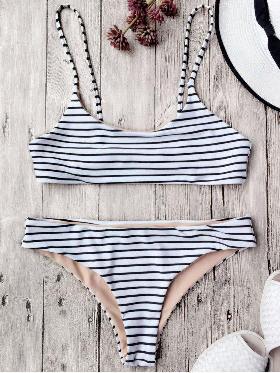 Traje de Bikini de Tirante Fino a Rayas sin Aros - Blanco L