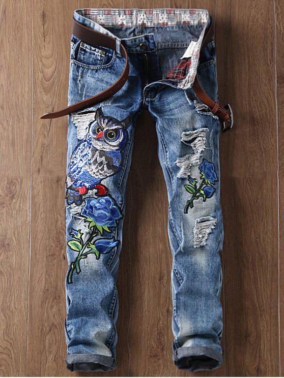 Pantalon Déchiré Floral à Hibou Brodé à Jambes Droites - Bleu 34