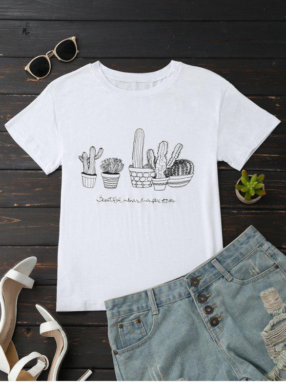 T-shirt In Cotone Con Grafica Di Cactus - Bianca L