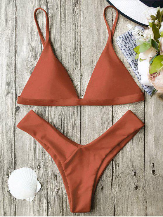 ladies Soft Pad Spaghetti Straps Thong Bikini Set - BURNT ORANGE S
