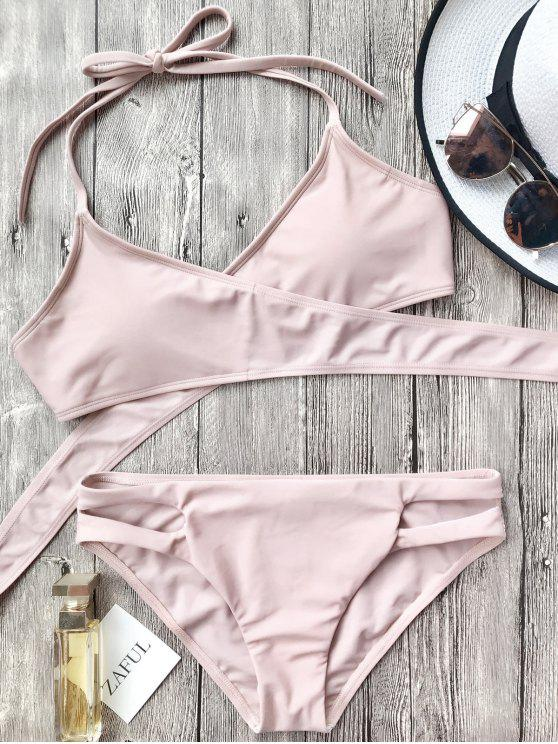 Conjunto de bikini con corte halter recortable - Rosa S