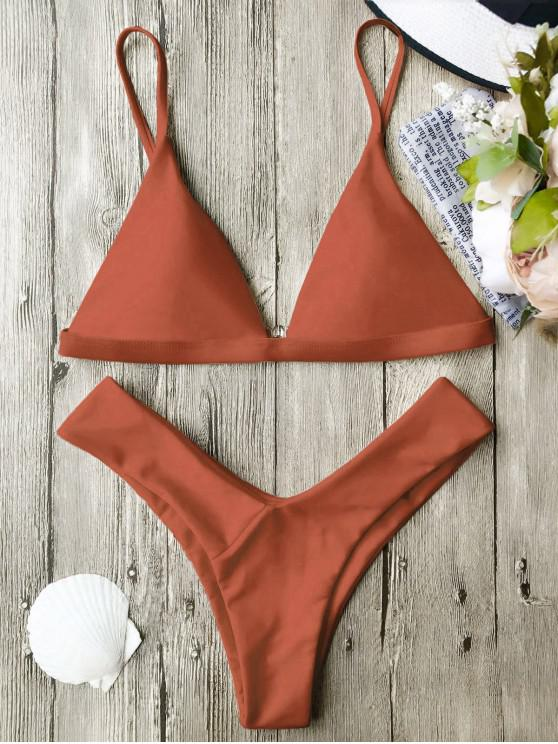 ladies Soft Pad Spaghetti Straps Thong Bikini Set - BURNT ORANGE S
