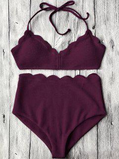 Halter Scalloped High Waisted Bikini Set - Merlot L