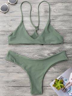 Spaghetti Strap Thong Bikini Set - Army Green M
