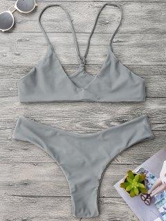 Spaghetti Strap Thong Bikini Set - Gray M