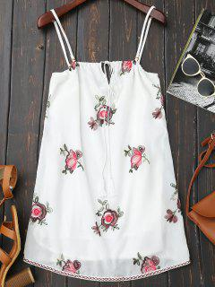 Backless Floral Embroidered Slip Dress - White M
