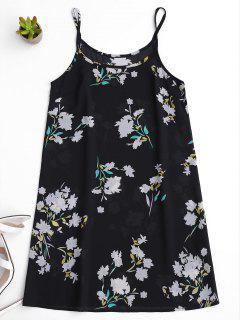 Floral See-Through Slip Dress - Black M