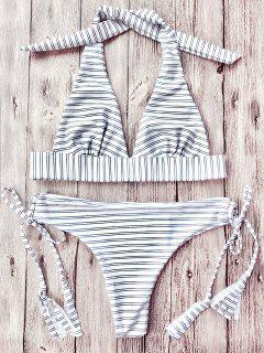 Ensemble De Bikini Rayé Col Plongeant Halter - Bande M