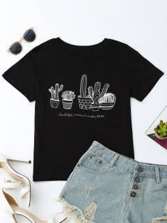 Cactus Graphic Cotton Blend T-Shirt - Black L