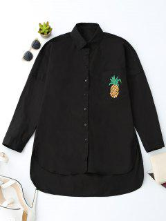 Boyfriend High Low Pineapple Pocket Shirt - Black M