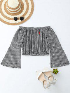 Embroidered Off Shoulder Flare Sleeve Crop Top - Checked S
