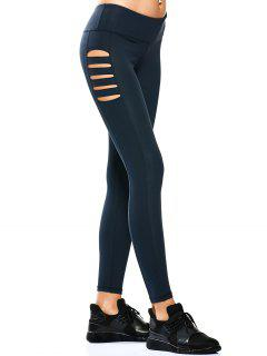Cut Out Tight Yoga Leggings - Cadetblue Xl