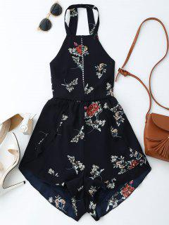 Open Back Floral Romper With Belt - Purplish Blue M