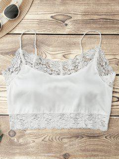 Satin Lace Panel Cropped Top - White