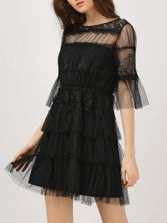 Lace Tulle Flare Sleeve Dress - Black L