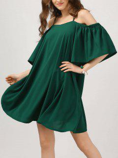 Elástico Correas Fría Hombro Campana Vestido De Manga - Verde Negruzco L