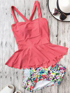Falbala Dasiy High Waisted Peplum Tankini - Watermelon Red Xl