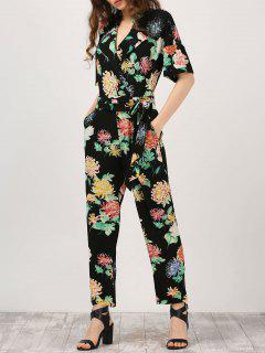 Floral Surplice Jumpsuit With Pocket - Black M