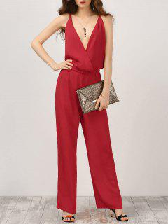 Plunge Open Back Chiffon Jumpsuit - Red Xl