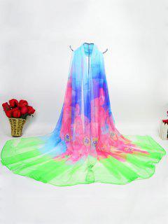 Flores De Inyección De Tinta Digital Gossamer Ice Silk Scarf - Verde