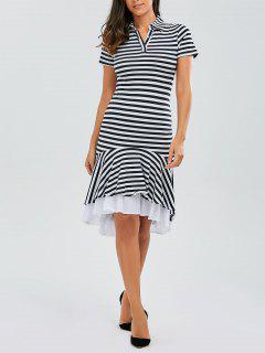 Asymmetric Striped Mermaid Dress - Stripe