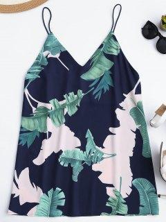 Mini Vestido Casual De Impresión Tropical - Azul Marino