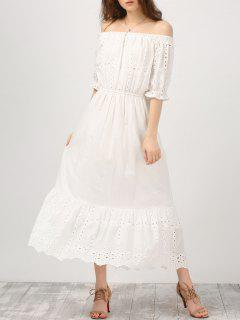 Off Shoulder Ruffle Hollow Out Dress - White M