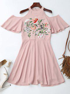 Jewel Neck Cold Shoulder Floral Embroidered Dress - Pink S