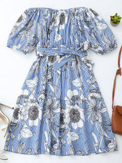 Off Shoulder Striped Floral Dress With Belt - Blue Stripe M