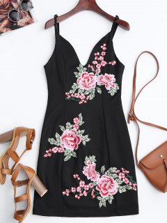 Floral Embroidered Mini Bodycon Dress - Black 2xl