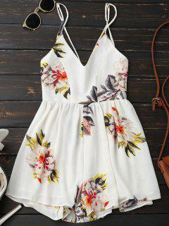 Spaghetti Strap Backless Floral Wide Leg Romper - White M
