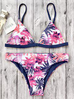 Traje De Bikini De Tirante Fino Con Escote Pico Con Estampado De Hoja - Blanco M