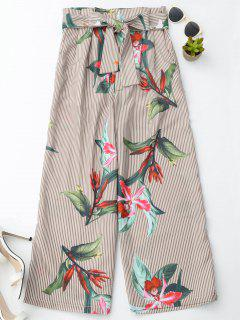 Floral Striped Wide Leg Pants With Belt - Stripe M