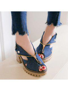 Denim Peep Toe Sandals - Deep Blue 39