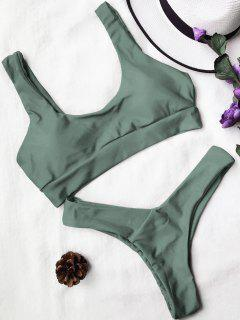 U Neck Bralette Thong Bikini Set - Army Green M